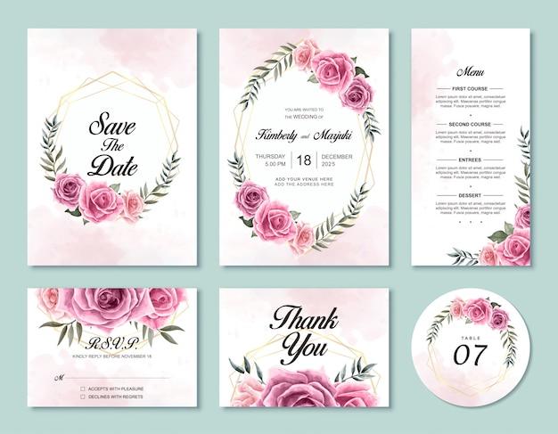 Modello di scheda dell'invito di nozze impostato con bellissimi fiori rosa dell'acquerello