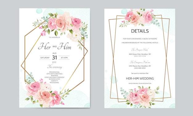 Modello di scheda dell'invito di nozze impostato con bordo dorato e belle foglie floreali