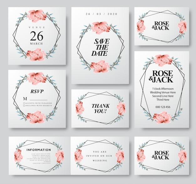 Modello di scheda dell'invito di nozze