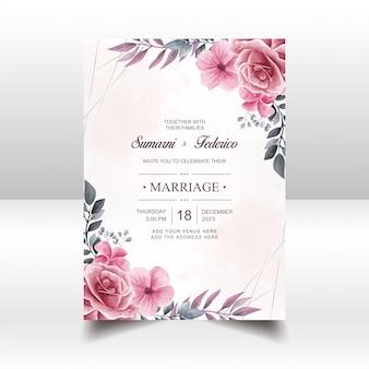 Modello di scheda di invito matrimonio vintage con fiori floreali dell'acquerello