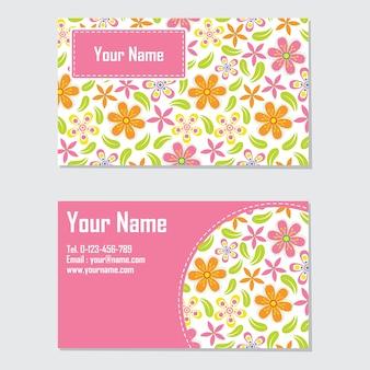 Modello di scheda di nome con fiore arancione e rosa