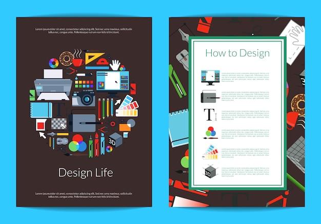 Modello di scheda di studio o corsi di design arte digitale con posto per il testo