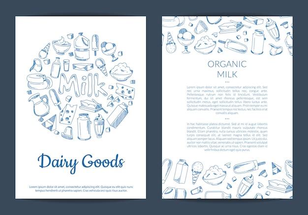 Modello di scheda o volantino con posto per testo e disegnato a mano elementi lattiero-caseari su bianco