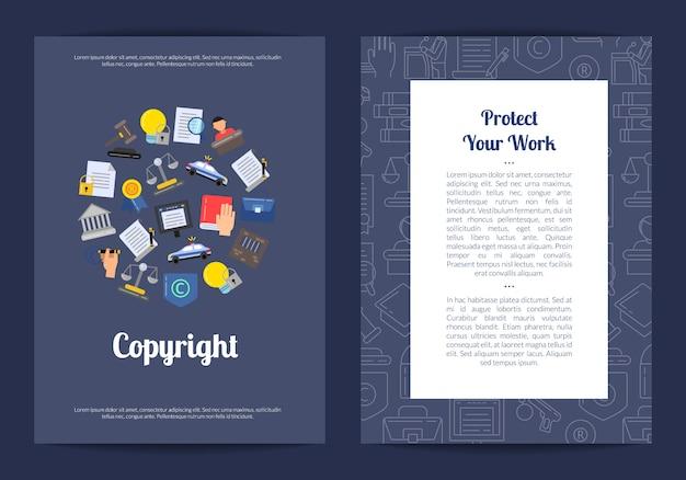 Modello di scheda o volantino per elementi di copyright in stile lineare e piatto