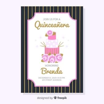 Modello di scheda quinceanera torta floreale