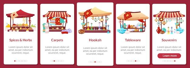 Modello di schermata dell'app mobile onboarding bazaar. mercato di strada asiatico. fiera orientale. procedura dettagliata del sito web con i caratteri su bianco. interfaccia ux, ui, interfaccia grafica per smartphone con interfaccia grafica