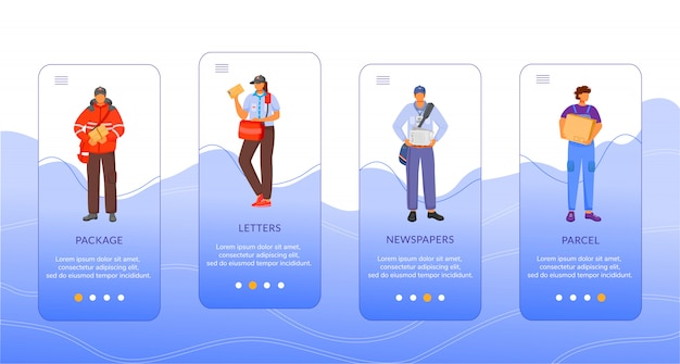 Modello di schermata dell'app mobile onboarding per la consegna del servizio postale.