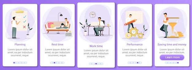 Modello di schermata dell'app mobile onboarding per la gestione del tempo.