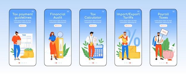 Modello di schermata dell'app mobile per l'onere della politica fiscale.