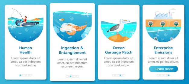 Modello di schermo mobile app onboarding inquinamento da plastica nel problema dell'oceano. contaminazione del mare. procedura dettagliata del sito web con caratteri piatti. concetto di interfaccia del fumetto di ux, ui, gui smartphone