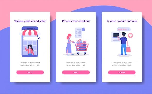 Modello di schermo onboarding del concetto di shopping online