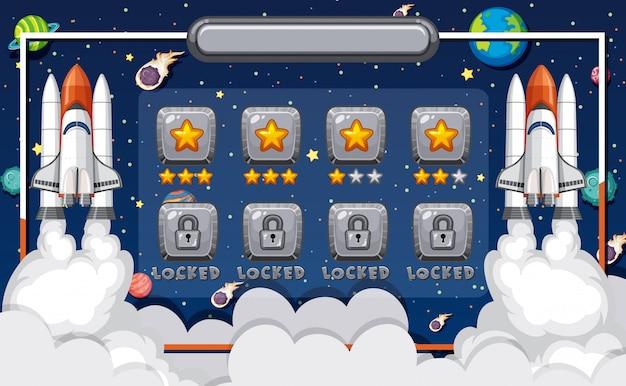 Modello di schermo per gioco per computer con tema spaziale