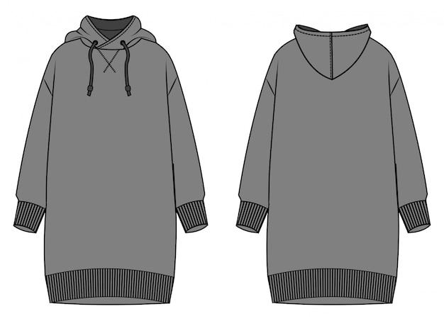 Modello di schizzo piatto moda abito hoodie