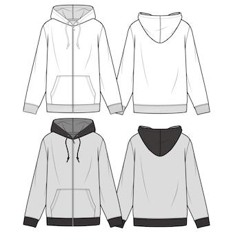 Modello di schizzo piatto moda modello zip-up hoodie