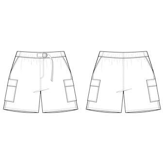 Modello di schizzo piatto moda pantaloncini corti