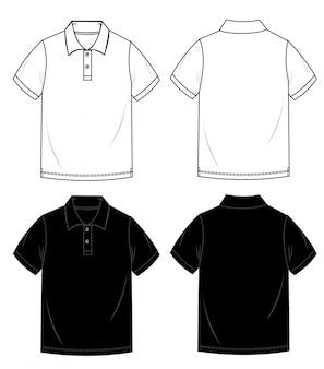 Modello di schizzo piatto moda polo shirt