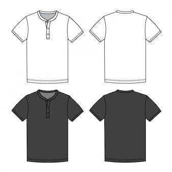 Modello di schizzo piatto moda t shirt uomo