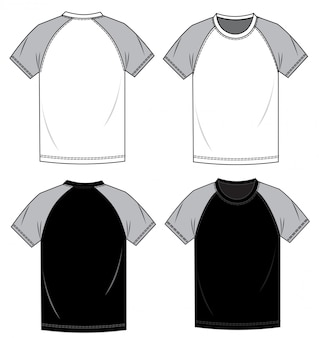 Modello di schizzo piatto moda tee shirt