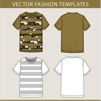 Modello di schizzo piatto moda uomo t-shirt dell'esercito