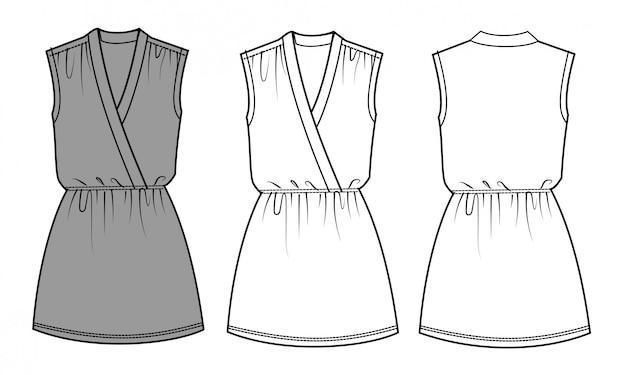 Modello di schizzo piatto moda vestito