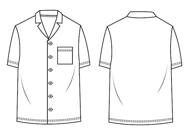Modello di schizzo piatto modello camicia da uomo
