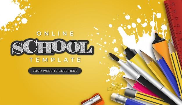 Modello di scuola online moderna con oggetti di scuola