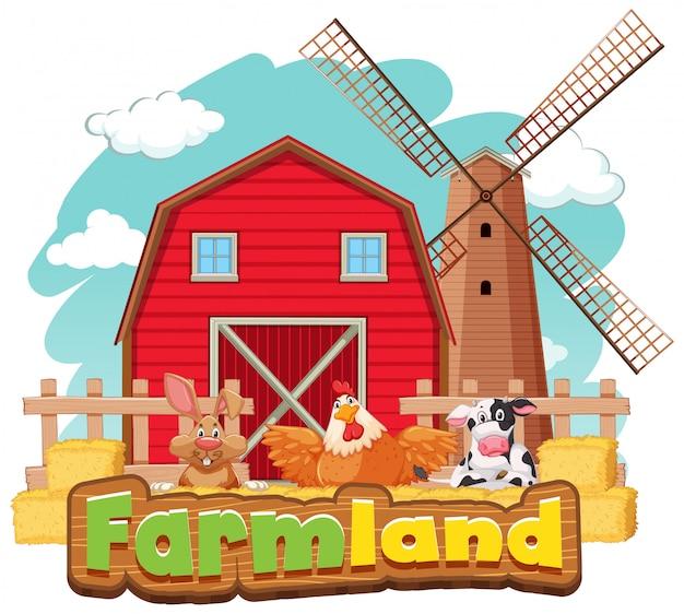 Modello di segno per terreni agricoli con fienile e molti animali