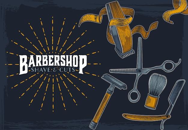 Modello di segno vintage hipster di negozio di barbiere