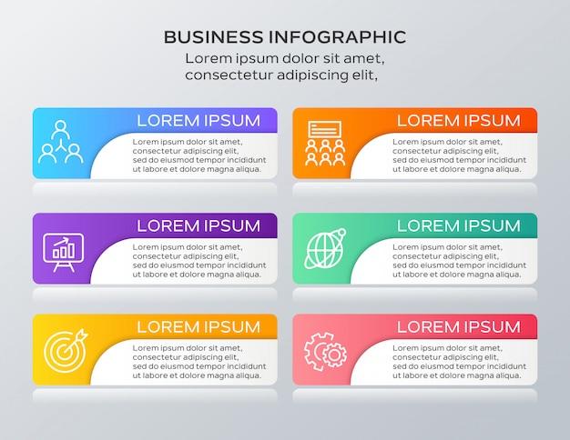 Modello di sei passaggi di infographics di affari