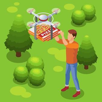 Modello di servizio di consegna cibo moderno isometrico con drone portando la pizza all'uomo