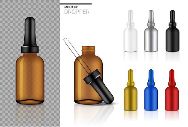Modello di set cosmetico bottiglia contagocce realistico con colore nero, trasparente ambra, argento, rosso, oro e blu per olio o profumo su bianco