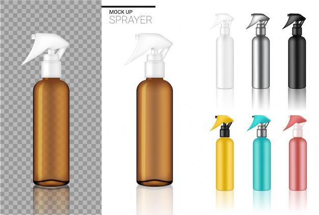 Modello di set cosmetico bottiglia spray realistico