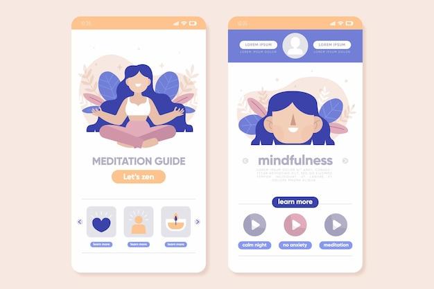 Modello di set di app di meditazione