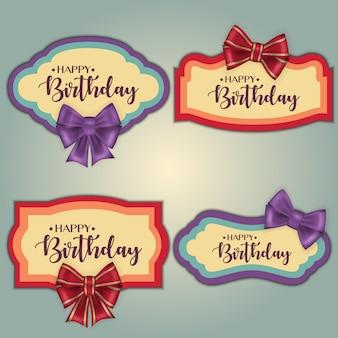 Modello di set di cornici colorate tag compleanno vintage decorato con fiocco.