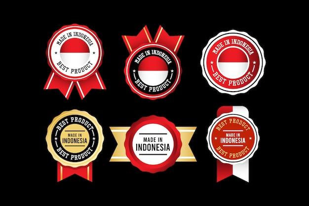 Modello di set di etichette realizzato in indonesia.
