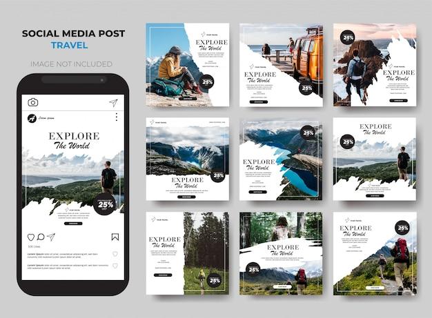 Modello di set di feed di post di social media di viaggio
