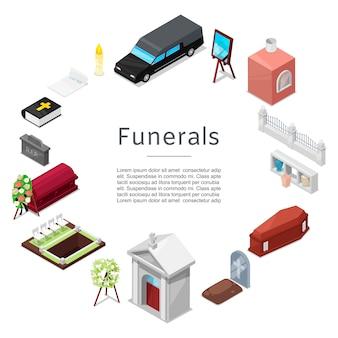 Modello di set di icone funerale isometrica