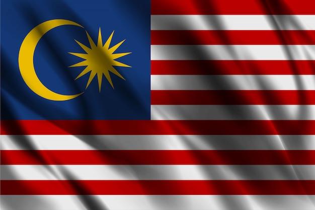 Modello di seta d'ondeggiamento del fondo della bandiera della malesia
