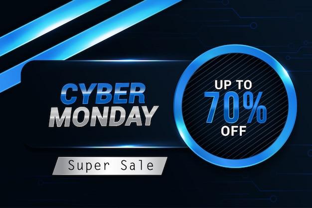 Modello di sfondo banner cyber lunedì vendita design alla moda