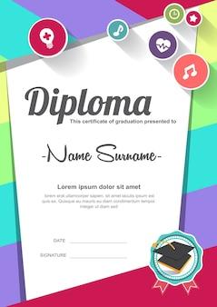 Modello di sfondo certificato diploma di bambini in età prescolare