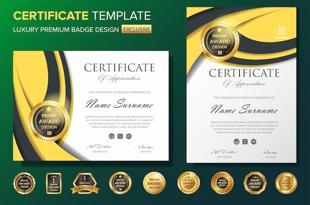 Modello di sfondo certificato professionale con badge