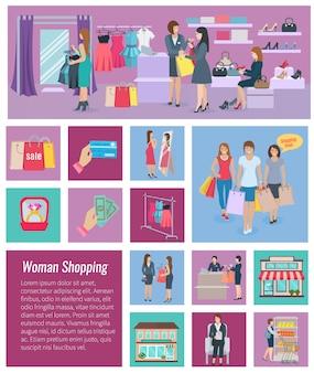 Modello di sfondo con elementi di illustrazione vettoriale shopping donna