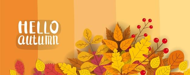 Modello di sfondo con foglie che cadono