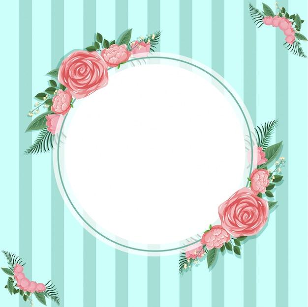 Modello di sfondo con rose rosa su verde