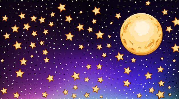Modello di sfondo con stelle luminose nel cielo scuro