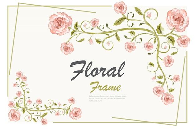 Modello di sfondo cornice floreale