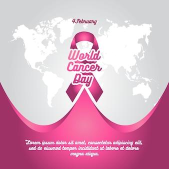 Modello di sfondo del nastro rosa giorno cancro mondiale