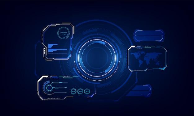Modello di sfondo dell'innovazione del sistema tecnologico schermo ui hud.