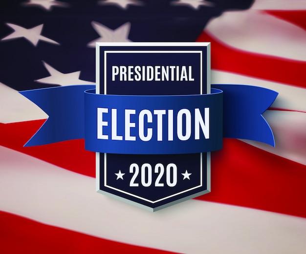 Modello di sfondo delle elezioni presidenziali 2020. distintivo con nastro blu.