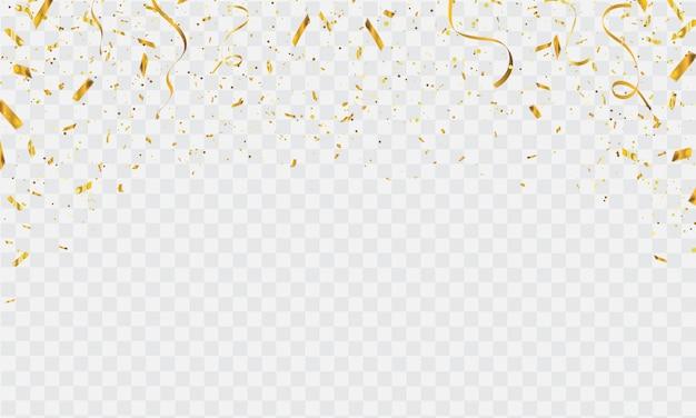 Modello di sfondo di celebrazione con coriandoli e nastri d'oro